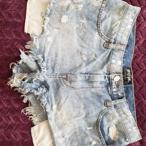 Nasty Gal Paint Distressed Shorts